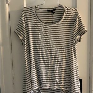 BCBG open back top in white and grey stripes